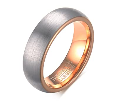 f79c95d9d33b8 BBX JEWELRY 6mm 18K Rose Gold Plated Wedding Rings for Men Tungsten ...