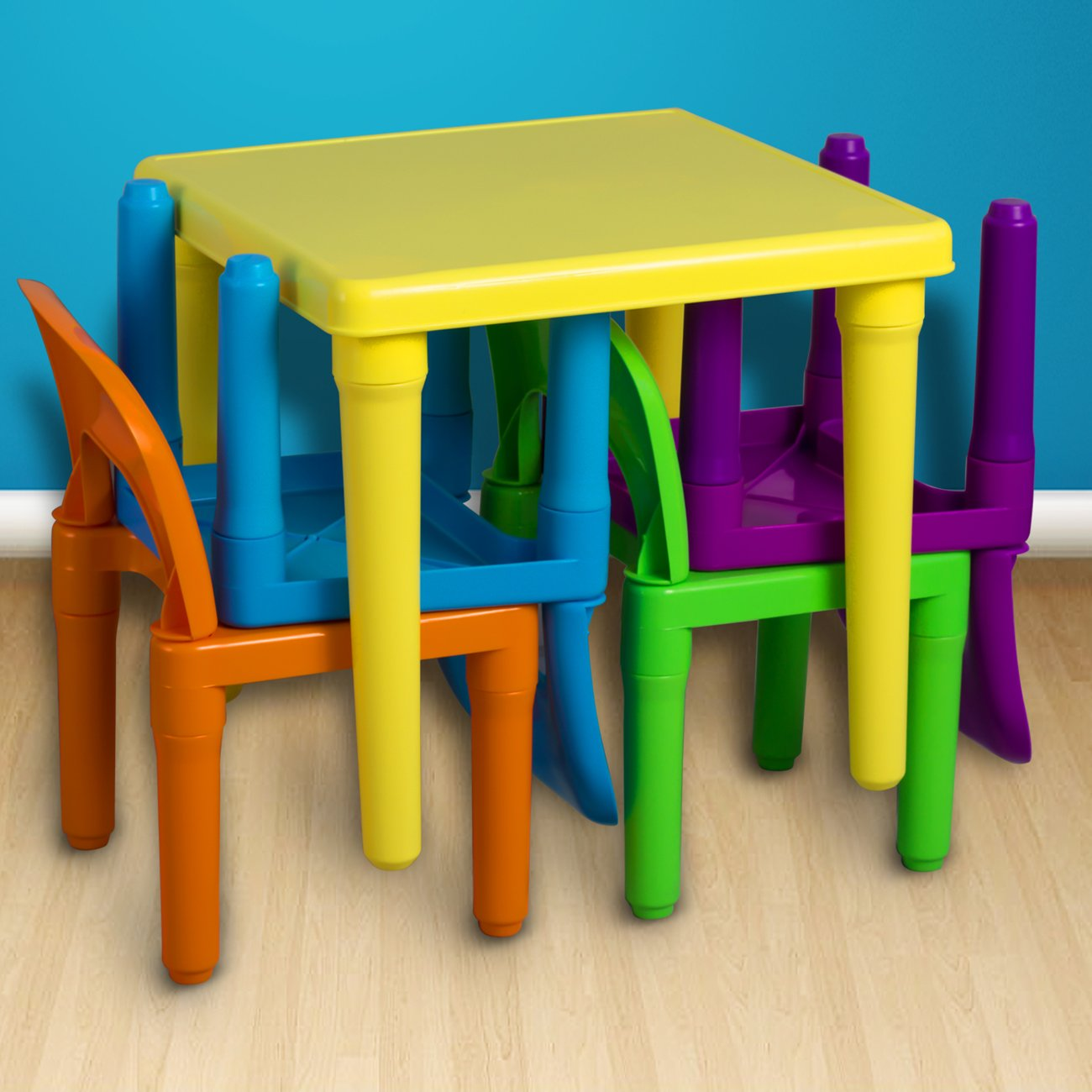 OxGord Kids Plastic Table and Chairs Set - Multi Colored Children Activity Table and Chairs for Playroom (Includes 1 Table and 4 Chairs) by OxGord (Image #3)