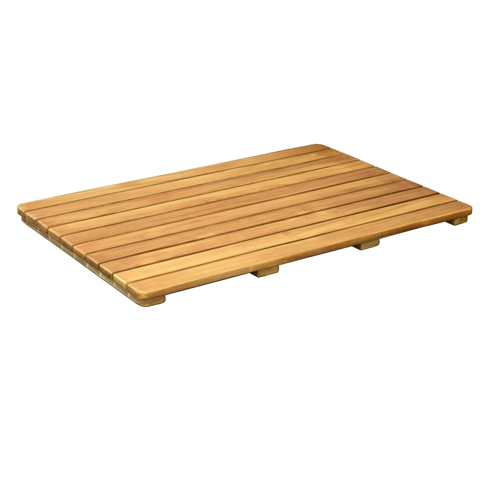 Asta Spa Teak Indoor/Outdoor Bath, Shower and Floor Teak Mat with Rounded Corners (30'' x 20'')