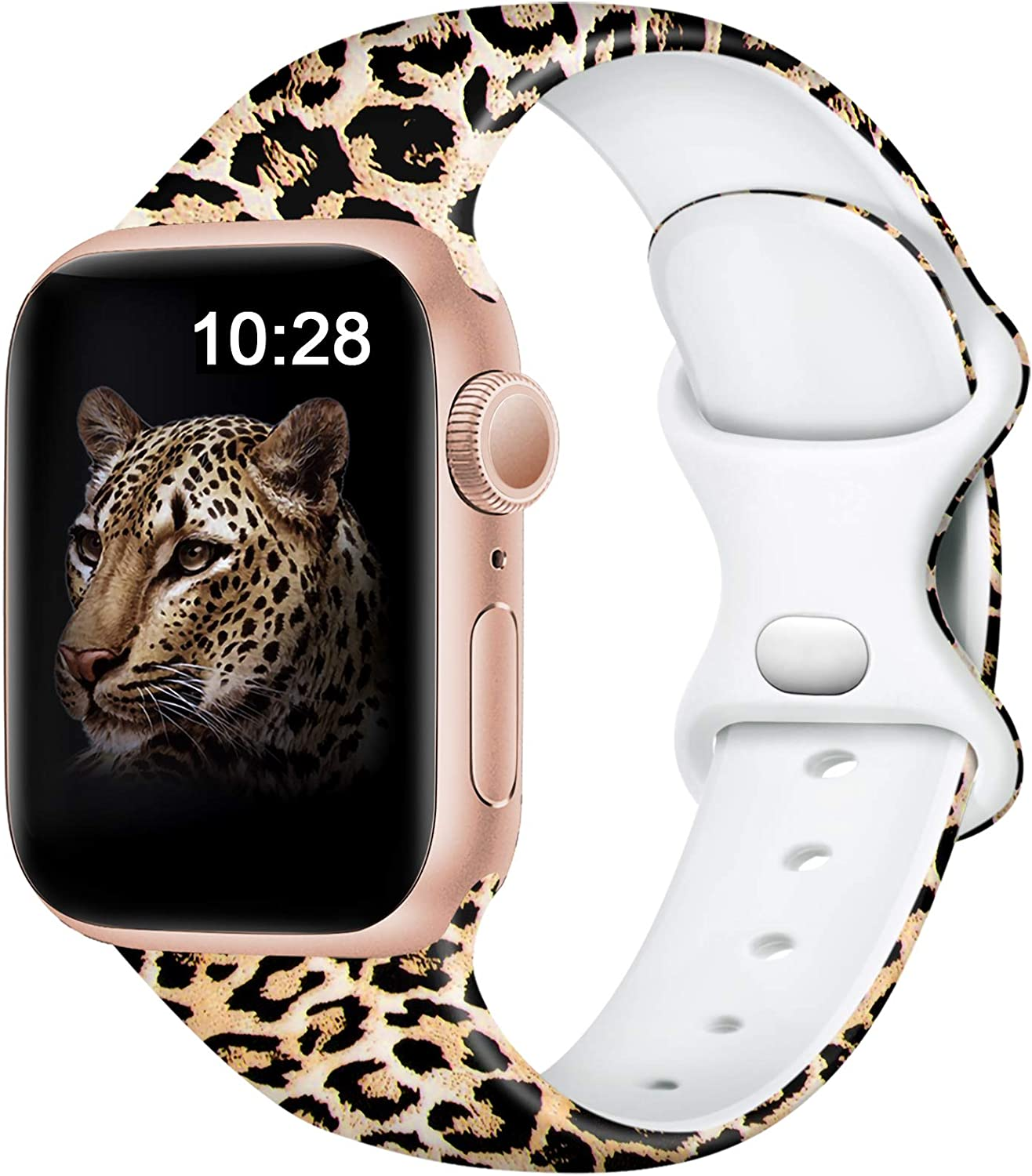 Easuny Leopard Bands Compatible for Apple Watch 40mm 38mm Womens Girls - Cute Fadeless Floral Soft Pattern Printed Silicone Replacement Wristband for iWatch SE & Series 6/5/4/3/2/1,Cheetah M/L