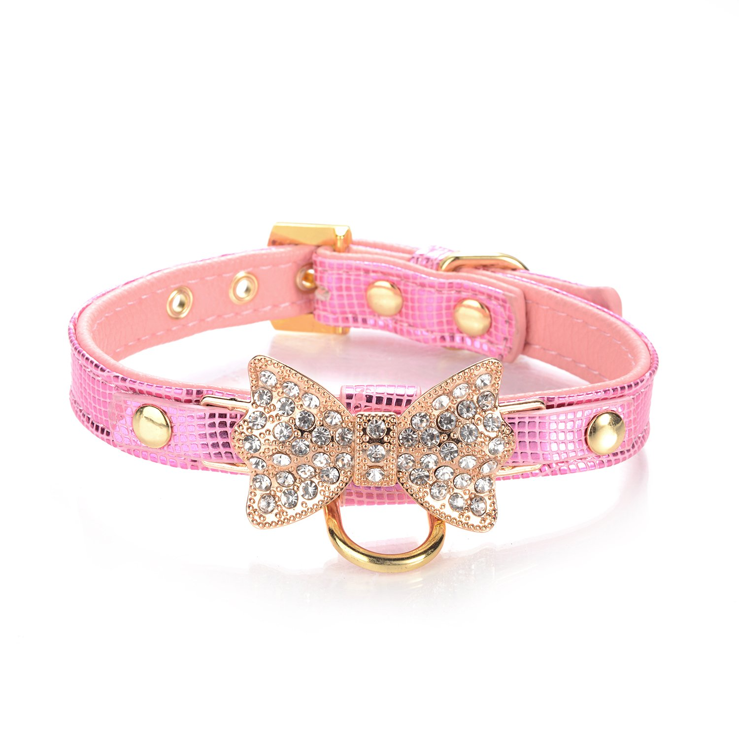 LOVPE Gold Bling Diamond Giltter Leather Fashion Collar with Ring for Tags for Small Dogs/Cats,[Adjustable Collars for puppy/kitten] (S, Pink)