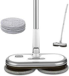 GOBOT Electric Mop Hardwood Floor Cleaner,Kitchen Tile Cordless Floor Mop,Laminat Vinyl Floor Scrubber with 4 Washable Microfiber Pads