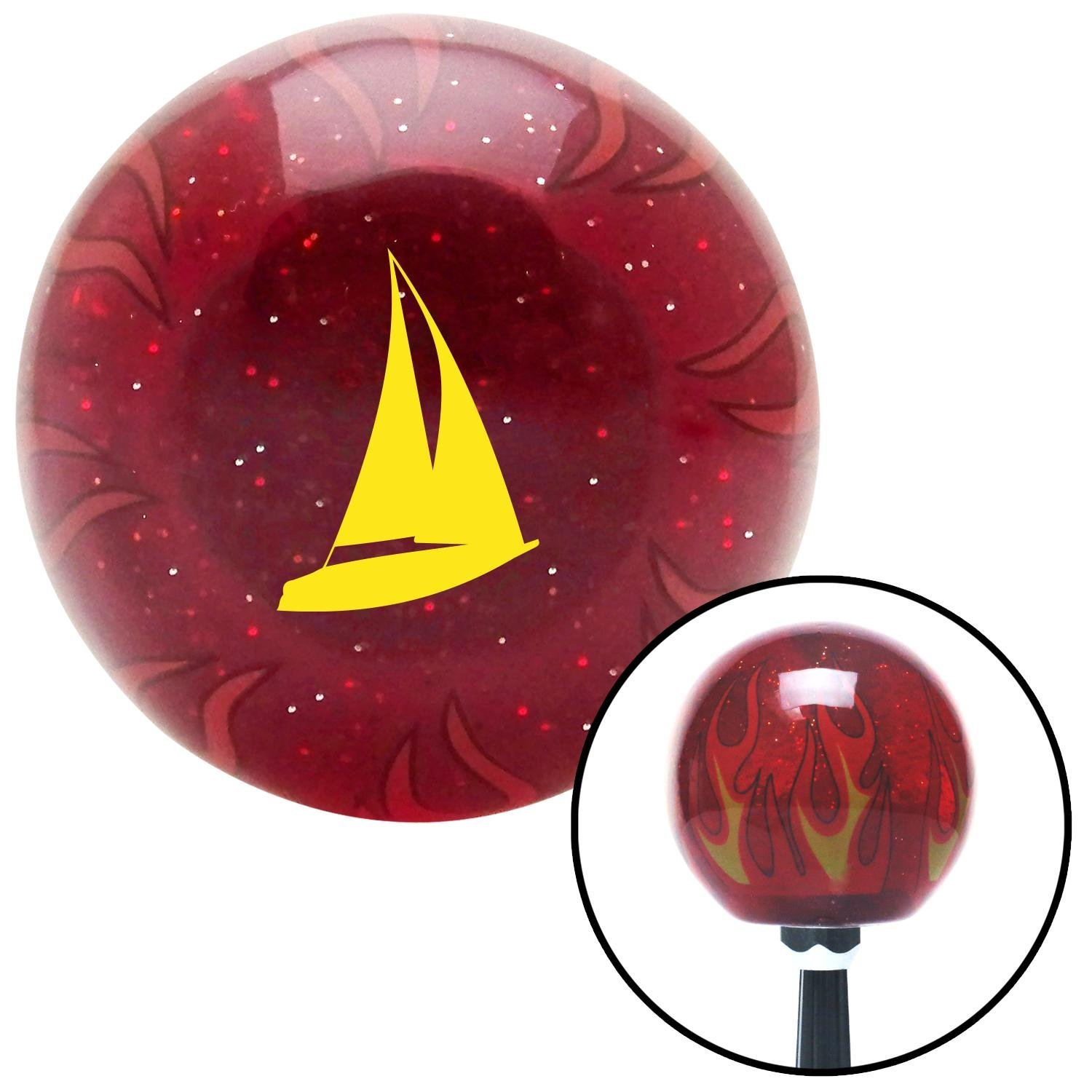 American Shifter 240783 Red Flame Metal Flake Shift Knob with M16 x 1.5 Insert Yellow Sail Boat
