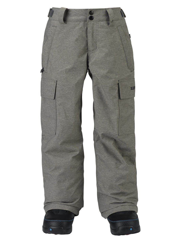 Burton Kids Boys Exile Cargo Snow Pants Grey Heather Size Small