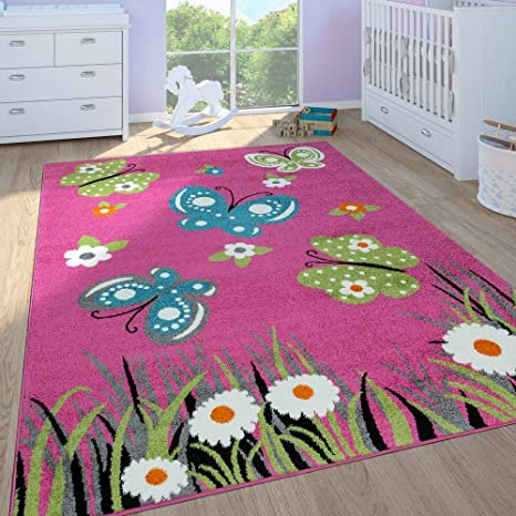 Paco Home Childrens Rug Girls Childrens Bedroom Play Rug Short Pile  Butterflies in Pink, Size:160x220 cm