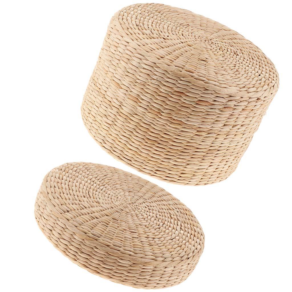 non-brand 2 Piezas Cojín de Piso Rústico Paja de Paja Asiento Meditación Decoración para Hogar, Oficina Grosor 6 cm y 20 cm