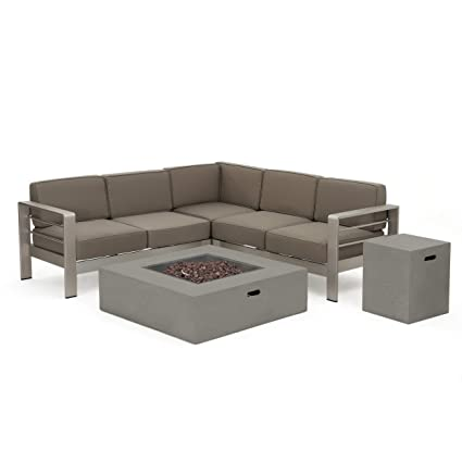 Awesome Christopher Knight Home 299880 Crested Bay Outdoor Aluminum Framed Sectional Sofa Set With Light Grey Fire Table Khaki With White Andrewgaddart Wooden Chair Designs For Living Room Andrewgaddartcom