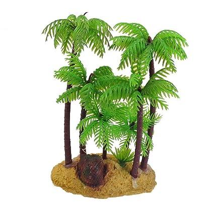 Rocita Jardín Plástico Palma Planta Subacuario Adorno Acuario Decoración Plantas Plástico 1 Pieza