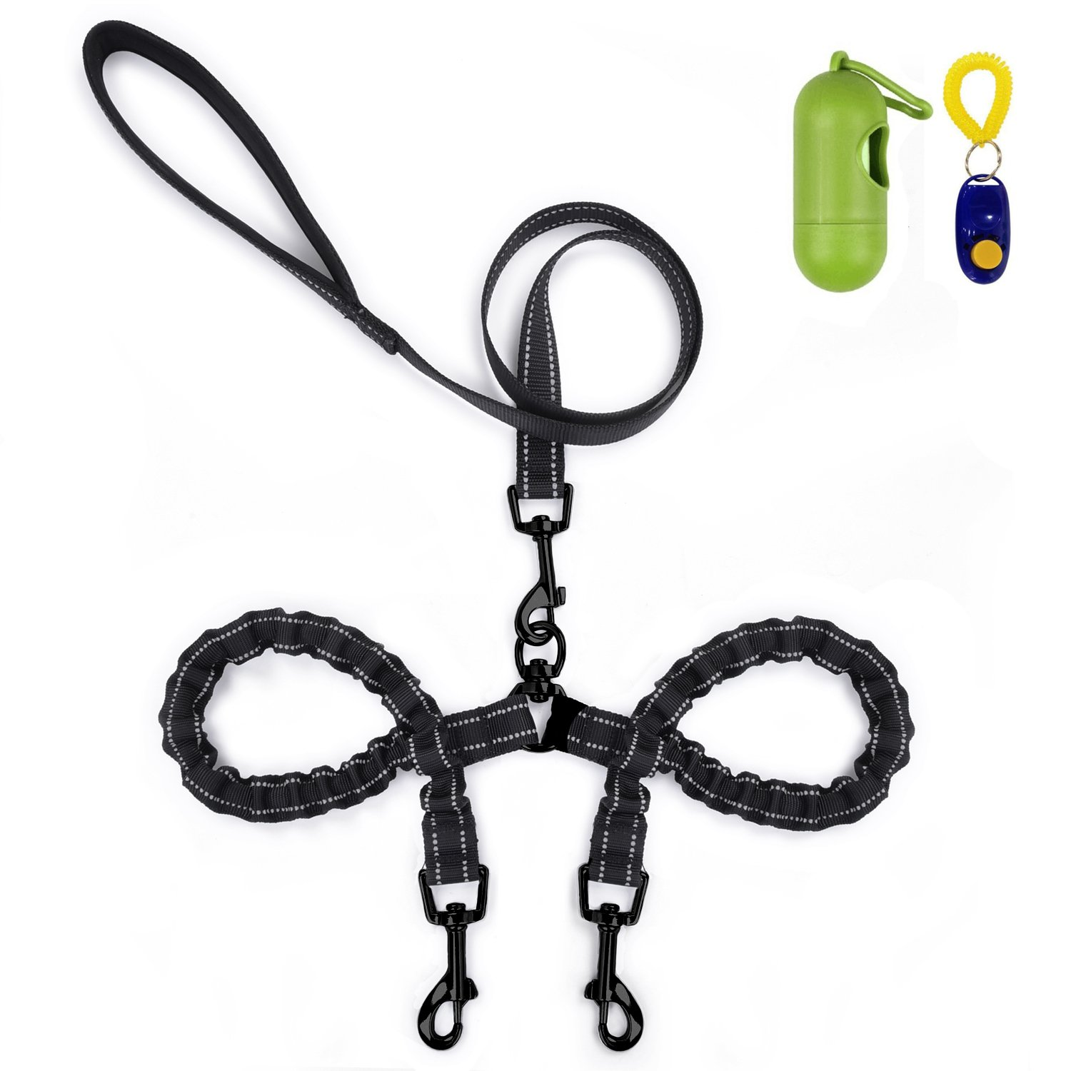 Dual Dog Leash, Double Dog Leash,360° Swivel No Tangle Double Dog Walking & Training Leash, Comfortable Shock Absorbing Reflective Bungee for Medium/Small Dogs with waste bag dispenser & clicker