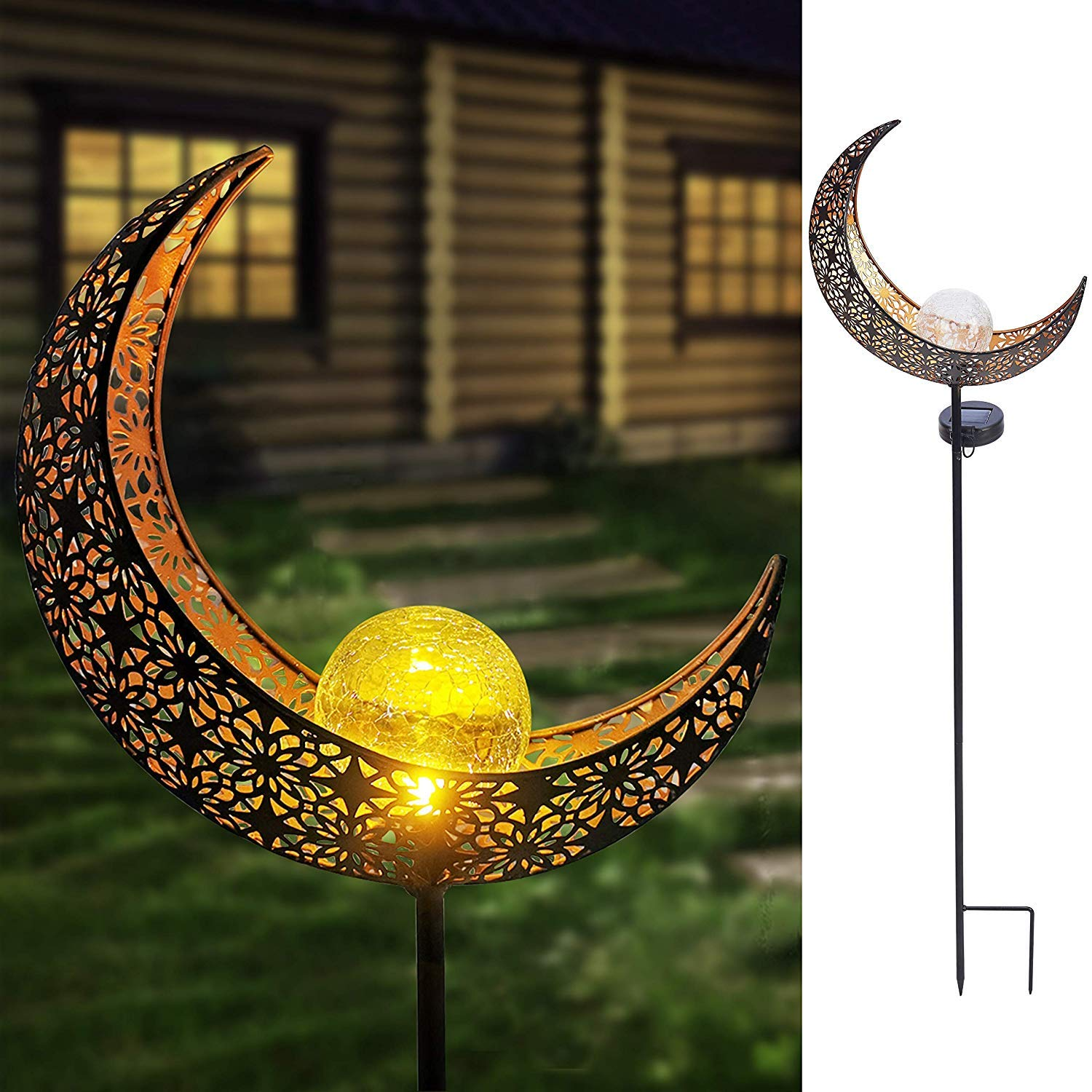 MAGGIFT 40 Inch Garden Solar Lights Outdoor Decorative Moon Garden Stakes Solar Pathway Light Decor Patio, Lawn, Garden