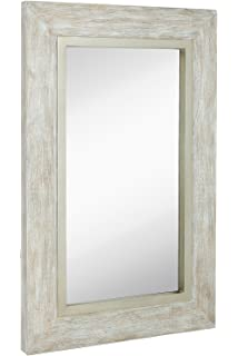 large white washed framed mirror beach distressed frame solid glass wall mirror vanity