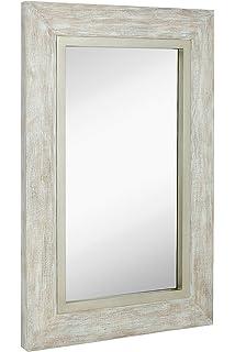 Amazoncom Distress Distressed Finish White Wood Frame Wall Mirror