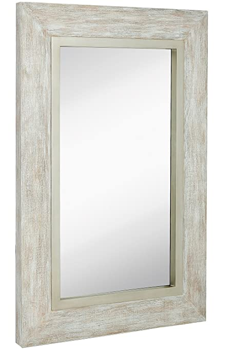 Hamilton Hills Large White Washed Framed Mirror | Beach Distressed Frame |  Solid Glass Wall Mirror