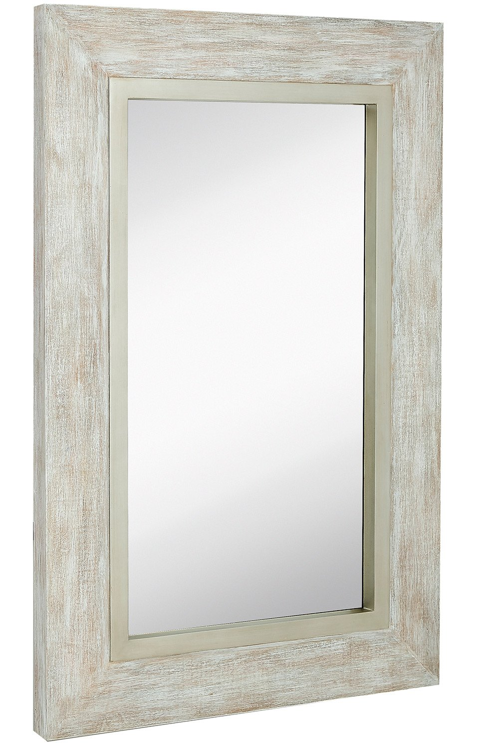 Large White Washed Framed Mirror   Beach Distressed Frame   Solid Glass Wall Mirror   Vanity, Bedroom, or Bathroom   Hangs Horizontal or Vertical   100% (24'' x 36'')