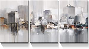 Denozer - 3 Panel Canvas Wall Art Prints - Modern New York Prints Colorful Abstract Cityscape Brooklyn Bridge Picture Stretched and Framed for Living Room Home Office Decor - 12