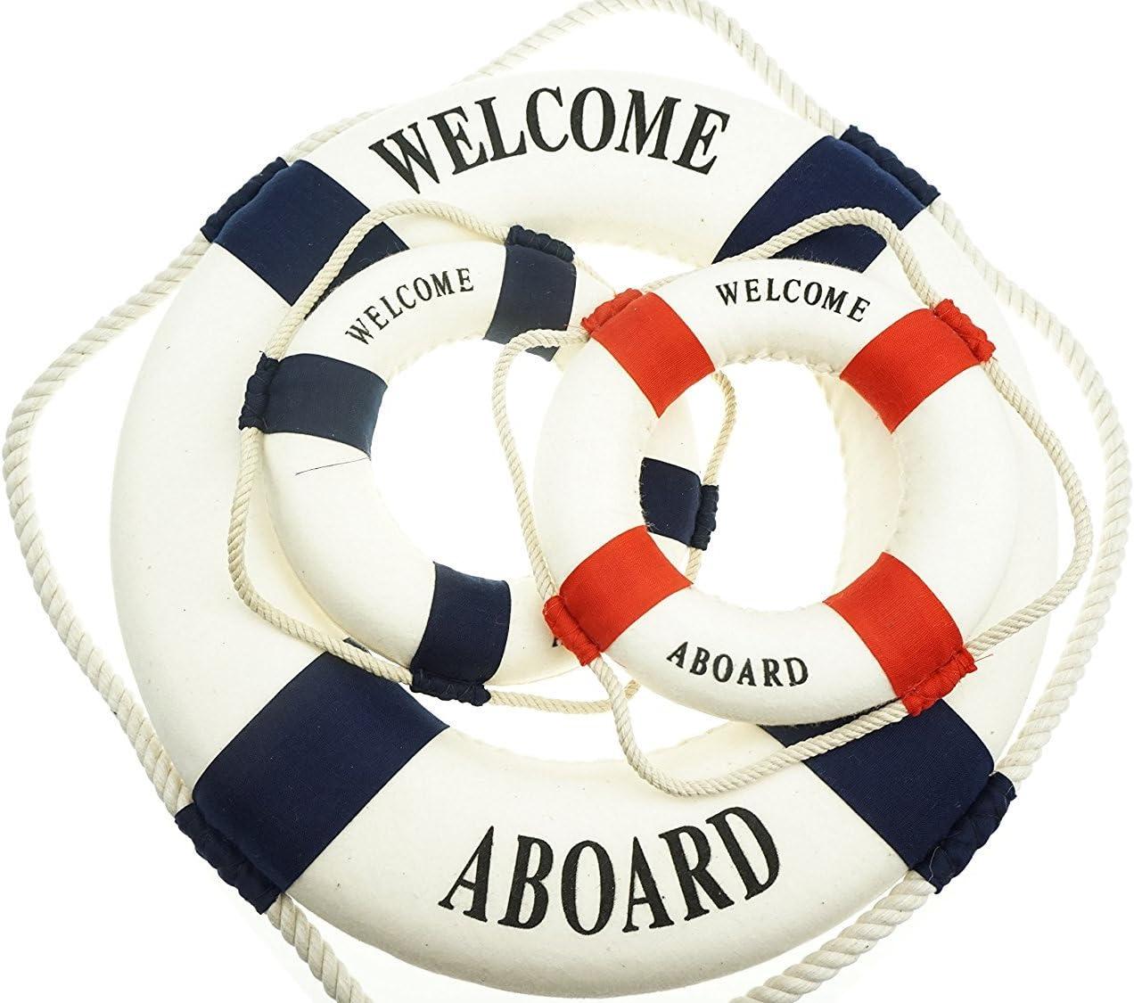 Bilipala 3Pcs Cloth Life Ring Buoy, Home Wall Nautical Decor, 12.5 & 5.5 Inches