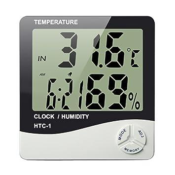 Termómetro digital Higrómetro,AZXES, LCD Medidor de Digital Termómetro Higrómetro, Mini Medidor de Humedad Temperatura Reloj y Fecha para casa oficina,Color ...