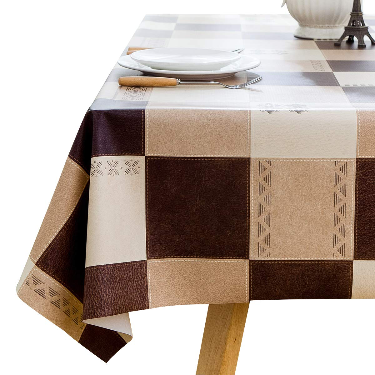 Square Vinyl Oilcloth Tablecloth Water Resistant/Oil-proof Wipeable PVC Heavy Duty Plastic Tablecloths for Kitchen Small - Checker Tan and Dark Brown 54 x 54 Inch LOHASCASA