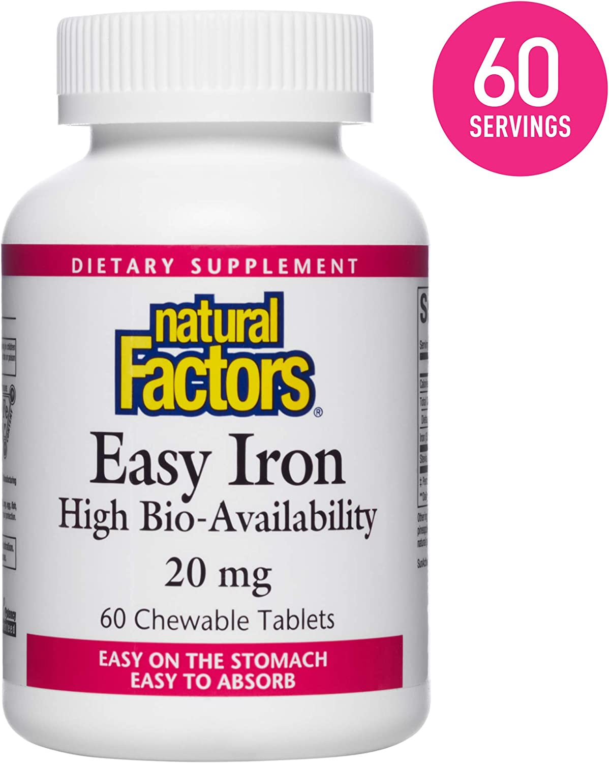 Natural Factors, Easy Iron Chewable, Gentle Supplement for Energy and Metabolism Support, Vegan, Gluten Free, Tropical Fruit Flavor, 60 tablets (60 servings)