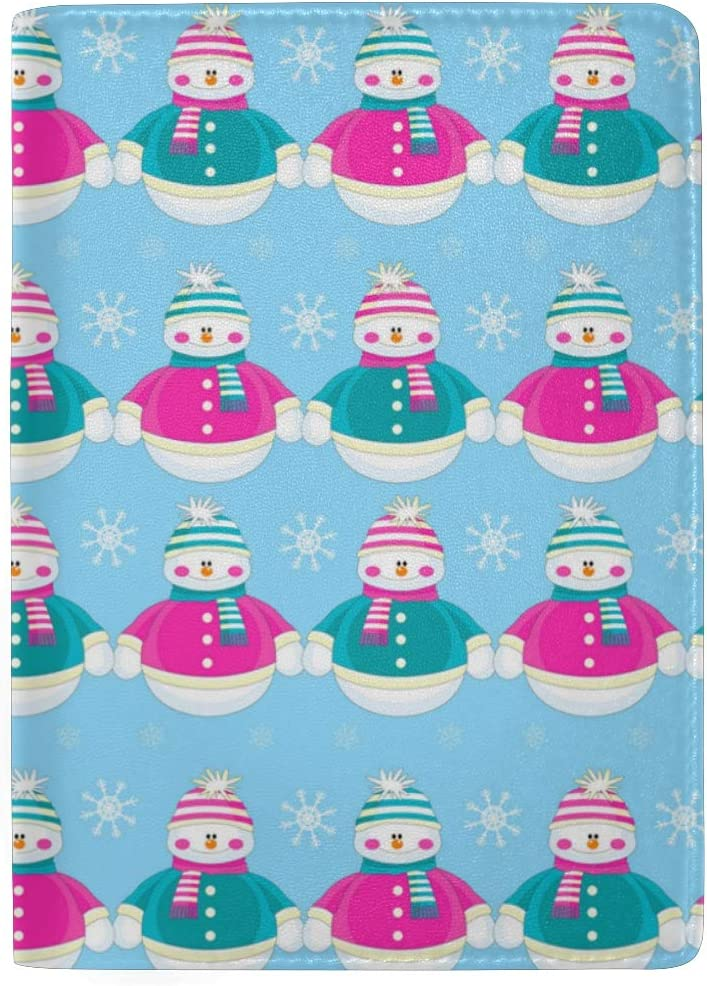 Zero Christmas Snowman Snowflake Leather Passport Holder Cover Case Blocking Travel Wallet