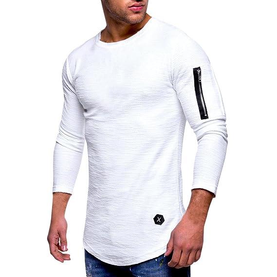 Tops Casuales para Hombre Camiseta con Cremallera de Manga Larga Blusa con Cuello Redondo y Pliegue