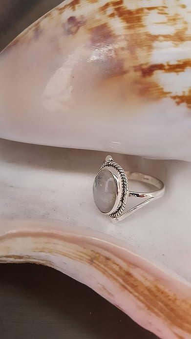 CHIC de Net Plata Piedra de luna anillos cuerda Arcos bolas ovalado 925 plata de ley anillos joyas 58 (18.5): Chic-Net: Amazon.es: Joyería