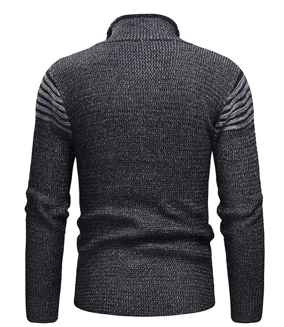 X-Future Mens Casual Hole Ripped Distressed Zip-Up Knit Striped Pullover Sweater