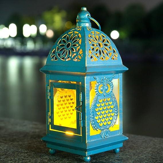 AHDECOR 3 Faroles Decorativos con Vela LED y decoración búho Metal para el Interior o el Exterior: Amazon.es: Hogar