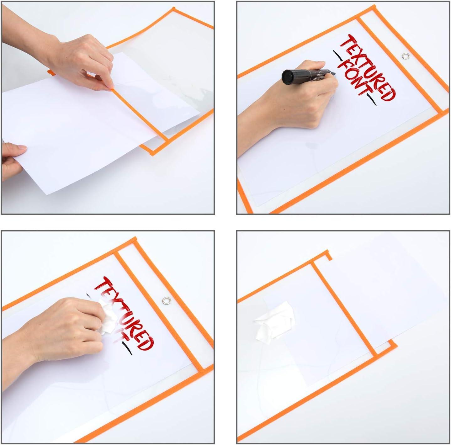 Lot de 10 Pochettes Effa/çables /à Sec Poches D/écriture et Dessuyage R/éutilisables Protecteurs de feuilles en plastique pour Denseignement 35/×25.5 cm