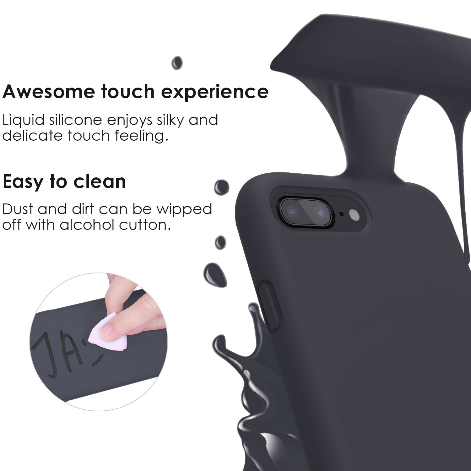iPhone 8 Plus Case, iPhone 7 Plus Case, JASBON Liquid Silicone Phone Case with Free Screen Protector Gel Rubber Shockproof Cover Full Protective Case for Apple iPhone 8 Plus / iPhone 7 Plus-Black