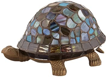 Dale Tiffany 7908/816A Blue Turtle Accent Lamp, Antique Bronze and ...