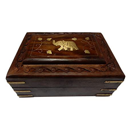 Indiabigshop hand carved wooden jewelry keepsake box multi utility