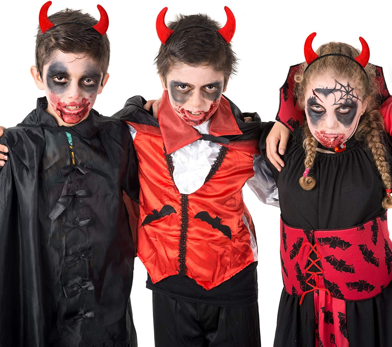 WILLBOND 4 Pieces Devil Horns Headband Halloween Horn Headband Devil Horns Hair Hoop Decorations for Halloween Cosplay Party Costume Supplies