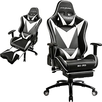 GTRACING Ergonomic Gaming Chair High Back Swivel Computer Office Chair  Adjusting Headrest And Lumbar Support Recliner