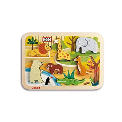 Janod Chunky Puzzle - 7-Piece Colorful Wooden Zoo Animals Themed Jigsaw Puzzle - Encourages Shape Recognition, Dexterity, and Language Development - Preschool Kids and Toddlers 18 Months+: Toys & Games