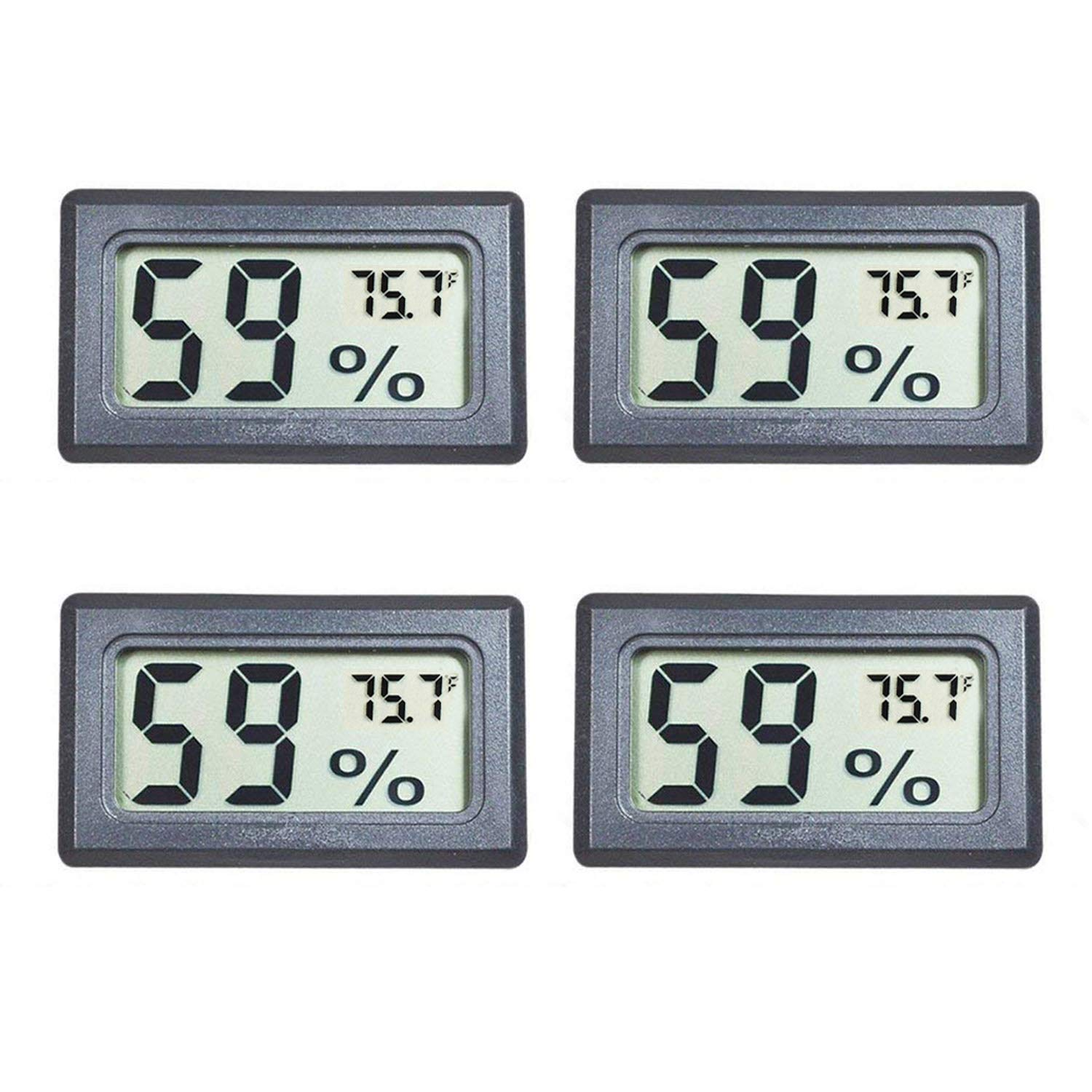 Veanic 4-pack Mini Digital Electronic Temperature Humidity Meters Gauge Indoor Thermometer Hygrometer LCD Display for Humidors Home Humidifiers Car Greenhouse Babyroom