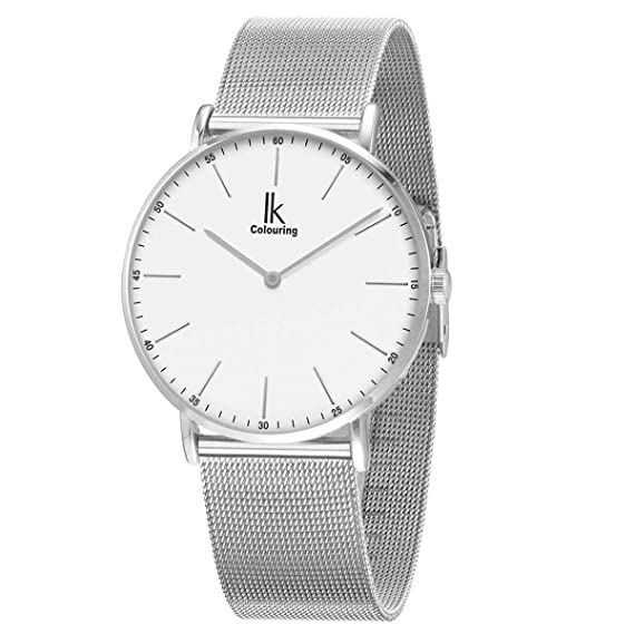 Alienwork IK Reloj Unisex Relojes Mujer Hombre Acero Inoxidable Plata Analógicos Cuarzo Blanco Impermeable Ultra-Delgada: Amazon.es: Relojes