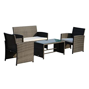 Ensemble salon de jardin 4 places : canapé, 2 fauteuils et table ...