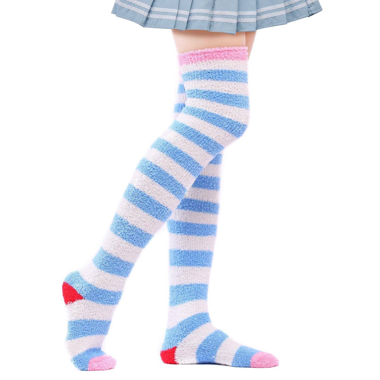 KaloryWee Chaussette Haute Tricot Au-dessus Du Genoux Chaude Soie Cuisse Femme Socquette Bas Chic Stocking