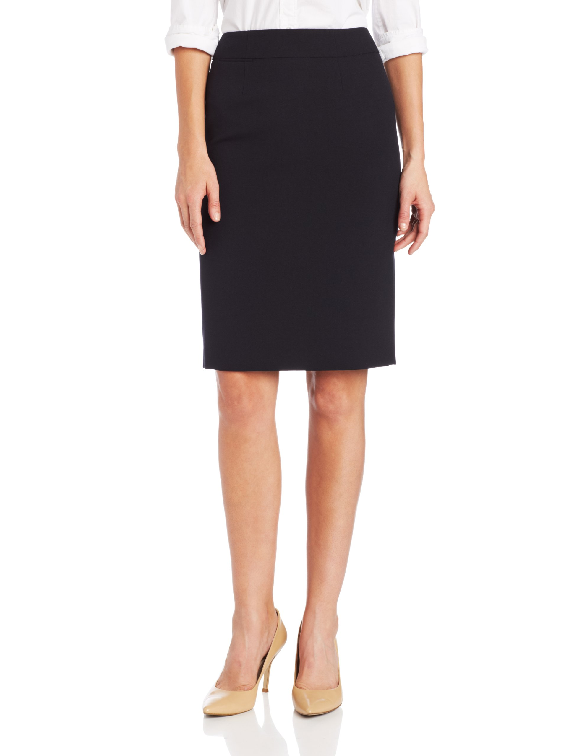 Calvin Klein Women's Straight Fit Suit Skirt, Navy, 8