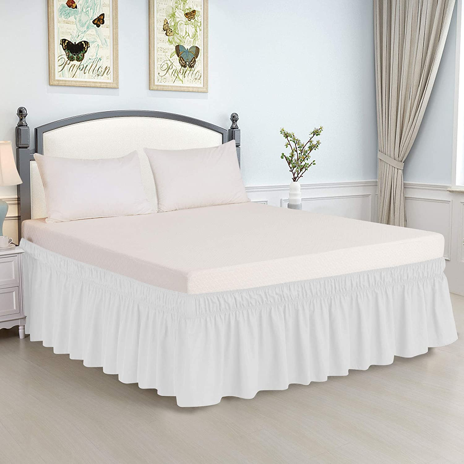 Guken Wrap Around Bed Skirt 15 Inch Drop Elastic Dust Ruffle Easy Fit Wrinkle and Fade Resistant Luxurious Silky Fabric Solid Easy On and Easy Off Beige,Twin