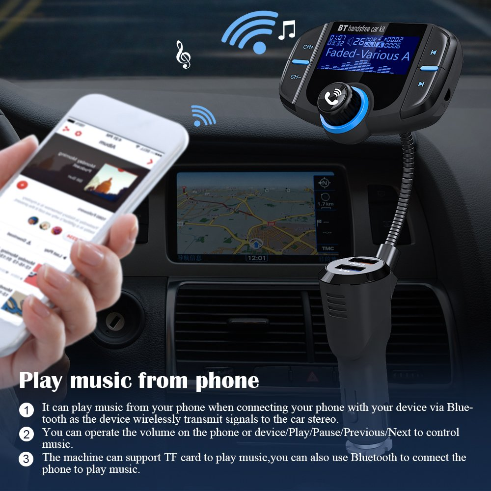 (Upgraded Version) Bluetooth FM Transmitter, GRDE Wireless Radio Adapter Hands-free Car Kit Receiver with QC 3.0 USB Car Charger, AUX Input/Output, TF Card Slot and LED Display by GRDE (Image #5)