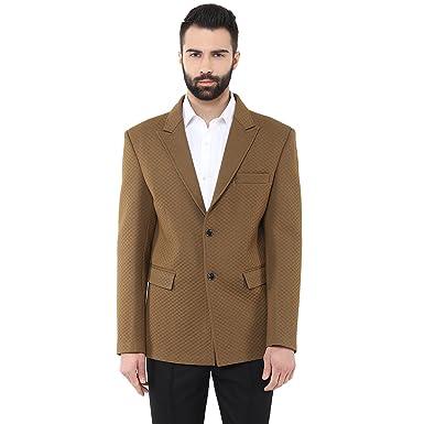 7373400f45 Dark Beige Knitted Self Design Partywear Blazer at Amazon Men's ...