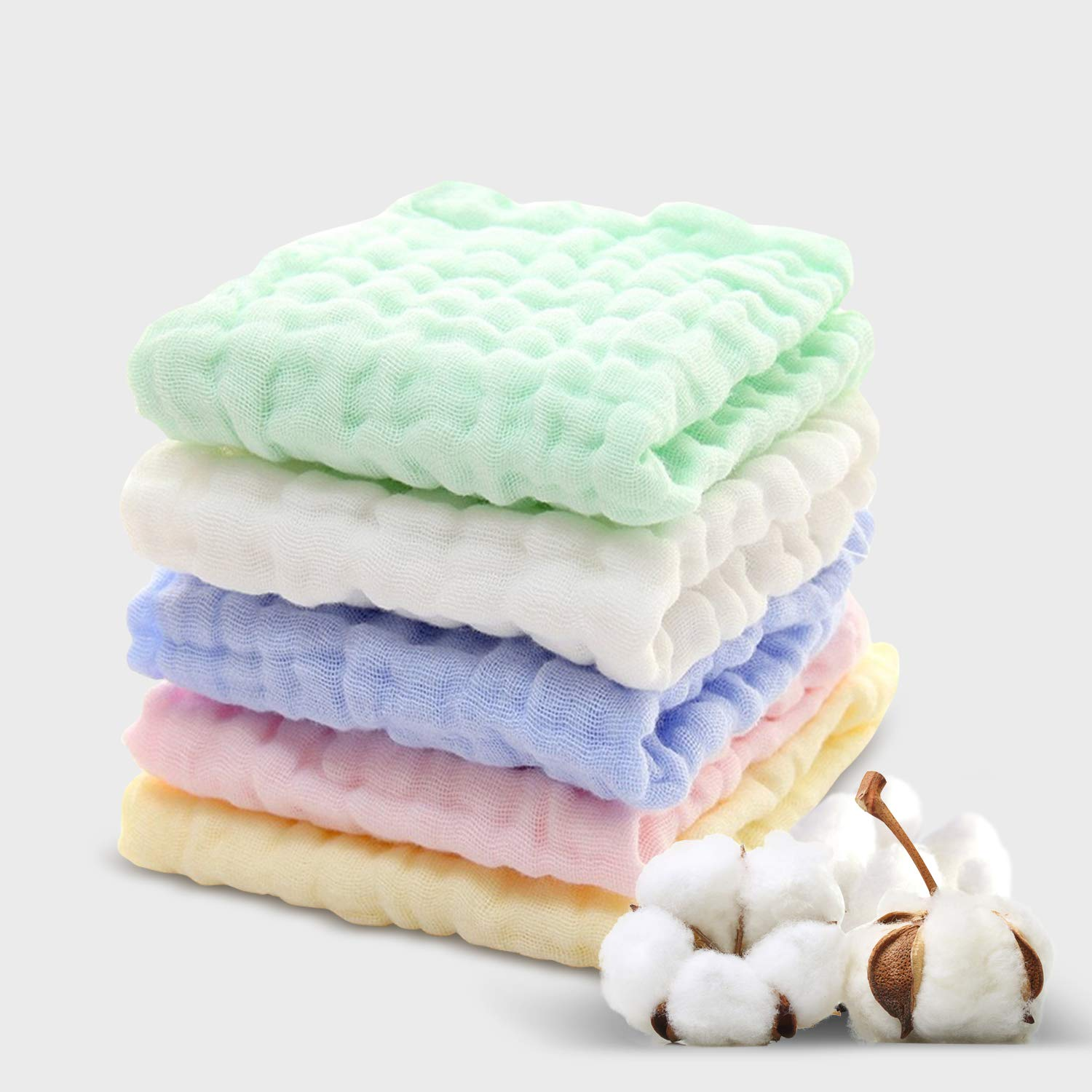 "Lekebaby Muslin Squares 10 Pack Baby Wash Cloths 12.5/"" x 12.5/"" Soft for Newborn,"