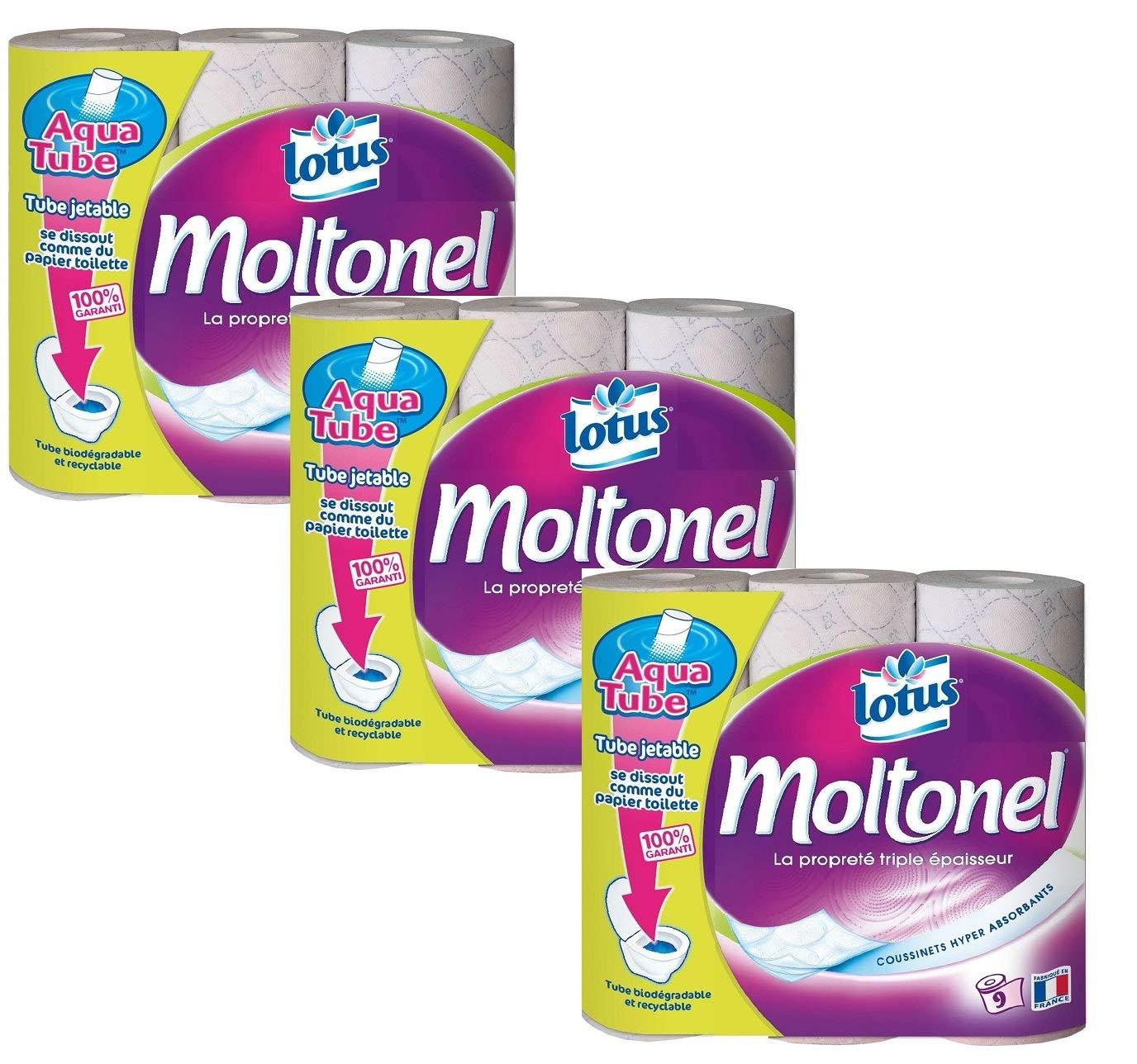 Lotus Moltonel 27 rollos papel higiénico 3 capas, suave resistente ...