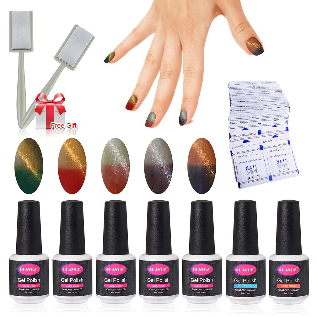Vernis Semi permanent Vernis à Ongles Gel UV LED Neige Cameleon Change 2 Couleur Temperature Soakoff 4pcs Kit Manicure Pour Ongle 8ml de Clavuz Generic