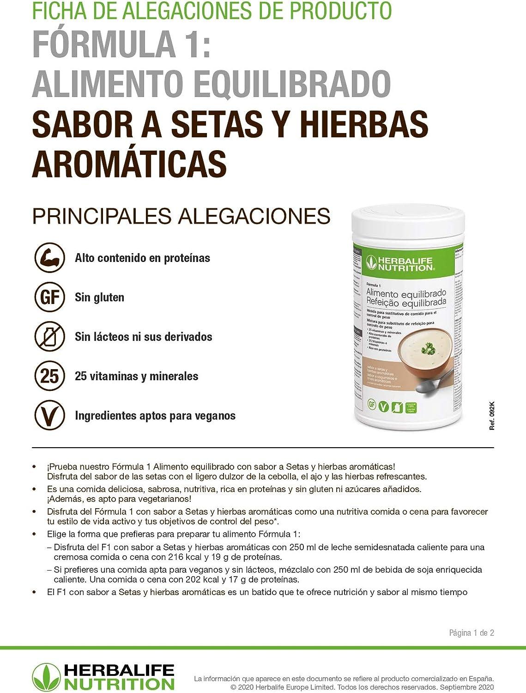 Herbalife - Suplemento Alimenticio Sabor a Setas y Hierbas Aromáticas - Batido de Proteína Fórmula 1 Alimento Equilibrado de 550 Gr