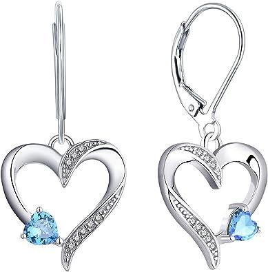 Childrens Niñas Aro Pendientes de plata esterlina y corazón con piedras preciosas