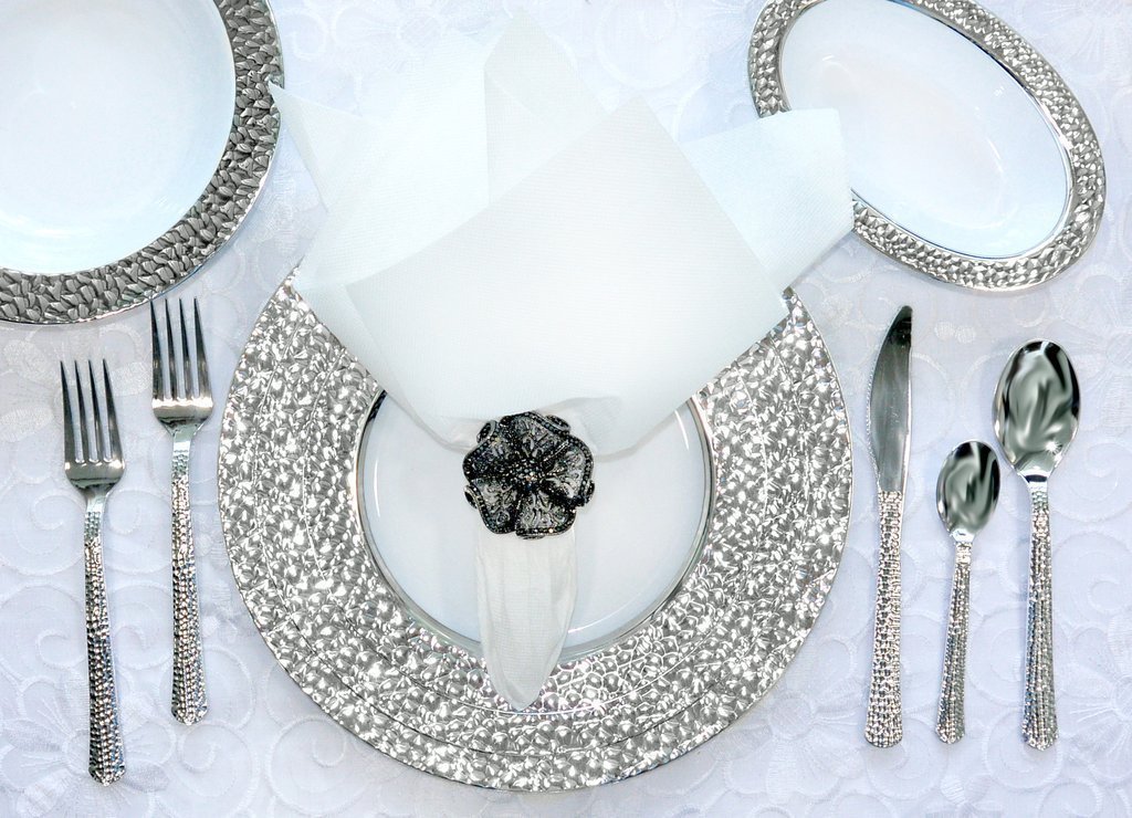 Royalty Settings Hammered Plastic Cutlery and Plastic Plates Set Party Package for 120 Persons, Includes 120 Dinner Plates,120 Salad Plates, 240 Forks, 120 Knives, 120 Spoons and 60 Teaspoons by Royalty Settings