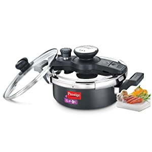 Prestige Clip On Hard Anodised Pressure Cooker with Glass Lid, 3-Liter